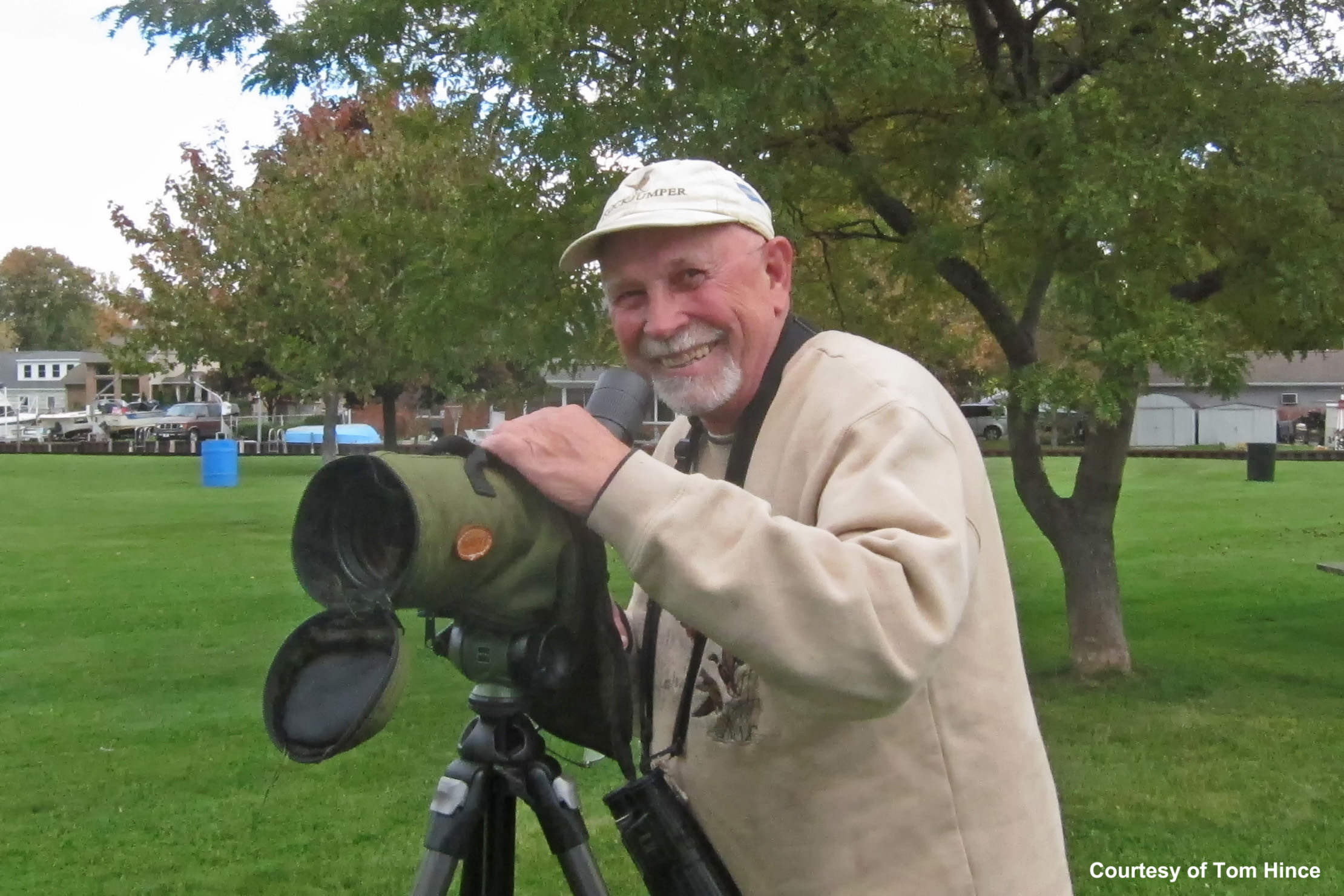 Tom Heatley looking very happy after seeing his 300th bird species lifetime in Macomb County